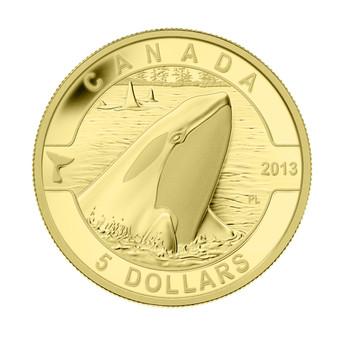 2013 $5 PURE GOLD COIN O CANADA SERIES - ORCA - KILLER WHALE (1/10oz. GOLD)