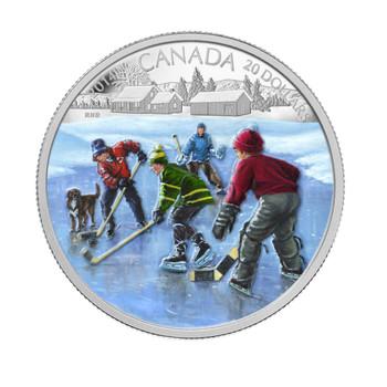2014 $20 FINE SILVER COIN - POND HOCKEY