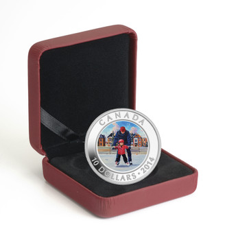2014 $10 FINE SILVER COIN LEARNING TO SKATE