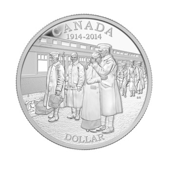 2014 PROOF SILVER DOLLAR 100TH ANN. OF THE DECLARATION OF THE FIRST WORLD WAR