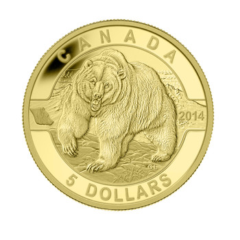2014 $5 PURE GOLD COIN O CANADA - GRIZZLY BEAR (1/10oz. GOLD)