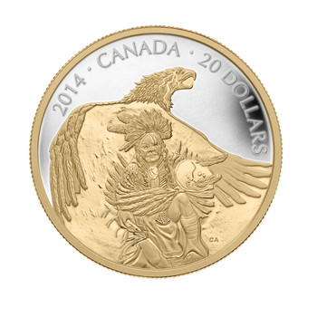 2014 $20 FINE SILVER COIN NANABOOZHOO AND THE THUNDERBIRD