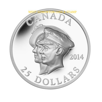2014 $25 FINE SILVER COIN 75TH ANNIVERSARY OF THE FIRST ROYAL VISIT