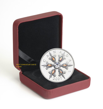 2007 $20 STERLING SILVER COIN - IRIDESCENT CRYSTAL SNOWFLAKE