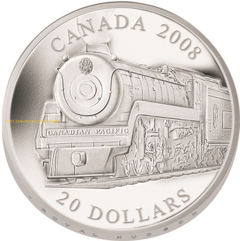 2008 $20 FINE SILVER COIN - GREAT CANADIAN LOCOMOTIVES - ROYAL HUDSON