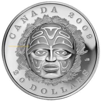 2009 $20 SILVER COIN - SUMMER MOON MASK - QUANTITY SOLD: 2,834