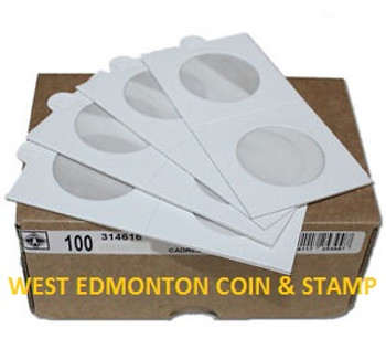 100-PACK SELF-ADHESIVE CARDBOARD 2X2 COIN HOLDERS - AVAILABLE IN MULTIPLE SIZES