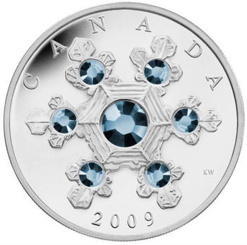 2009 $20 SILVER COIN  - BLUE CRYSTAL SNOWFLAKE