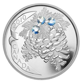 2010 $20 FINE SILVER COIN - HOLIDAY PINECONES - MOONLIGHT