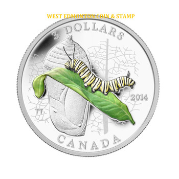 2014 $3 FINE SILVER COIN - ANIMAL ARCHITECTS - CATERPILLAR AND CHRYSALIS