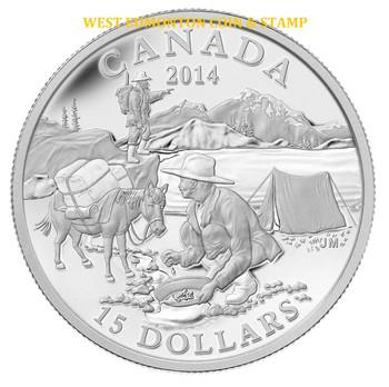 2014 $15 FINE SILVER COIN EXPLORING CANADA: THE GOLD RUSH