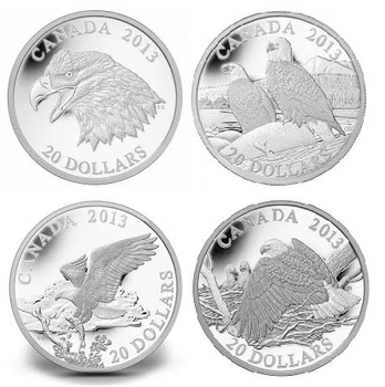 2013 4 $20 EAGLE COINS - PORTRAIT OF POWER - LIFELONG MATES - RETURNING FROM THE HUNT - PROTECTING HER NEST