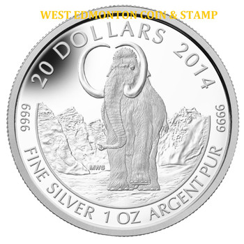 2014 $20 FINE SILVER COIN PREHISTORIC ANIMALS: THE WOOLLY MAMMOTH