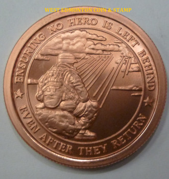 LOVE YOUR VETERANS - NO HERO LEFT BEHIND 1 OZ. COPPER ROUND