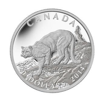 2014 $20 FINE SILVER COIN COUGAR ATOP A MOUNTAIN