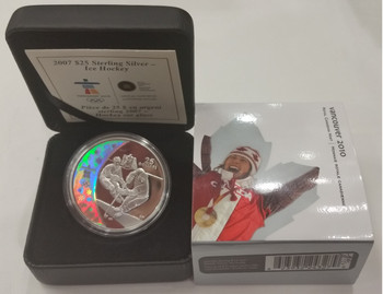 2007 OLYMPIC $25 STERLING SILVER HOLOGRAM COIN - ICE HOCKEY