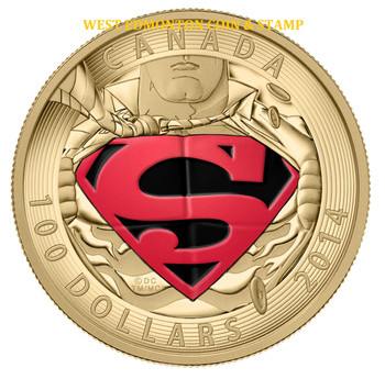 2014 $100 14KT GOLD COIN ICONIC SUPERMAN™ COMIC BOOK COVERS: THE ADVENTURES OF SUPERMAN #596 (2001)