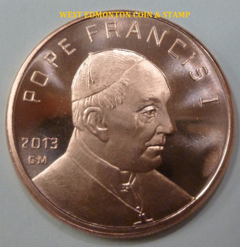 POPE FRANCIS I 1 OZ. COPPER ROUND