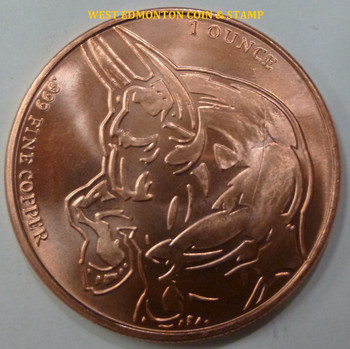 BULL AND BEAR 1 OZ. COPPER ROUND