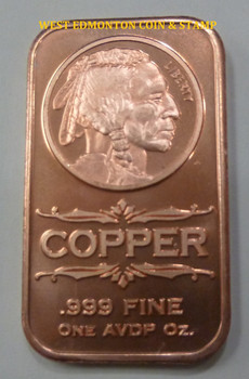 INDIAN HEAD 1 OZ COPPER INGOT / BAR