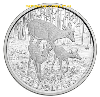 2014 $20 FINE SILVER COIN THE WHITE-TAILED DEER - A DOE AND HER FAWNS