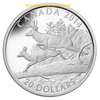 2014 $20 FINE SILVER COIN THE WHITE-TAILED DEER - MATES