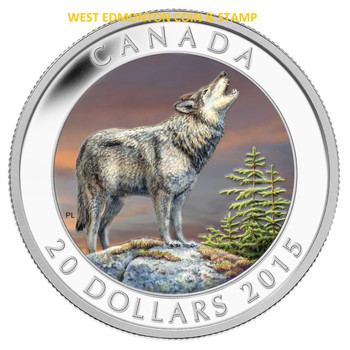 2015 $20 FINE SILVER COIN COLOURIZED WOLF