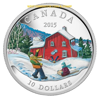 2015 $10 FINE SILVER COIN WINTER SCENE