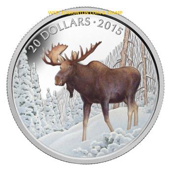 2015 $20 FINE SILVER COIN THE MAJESTIC MOOSE