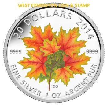 2014 $20 FINE SILVER COIN - GLOW IN THE DARK MAPLE LEAF