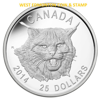 2014 $25 FINE SILVER ULTRA HIGH RELIEF COIN THE FIERCE CANADIAN LYNX