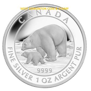 2015 $5 FINE SILVER COIN – POLAR BEAR AND CUB