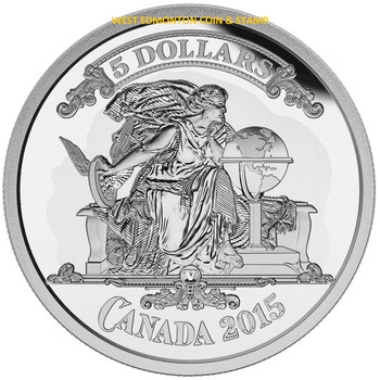 2015 $5 FINE SILVER COIN BANK NOTES SERIES: CANADIAN BANKNOTE VIGNETTE