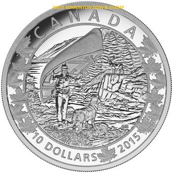 2015 $10 FINE SILVER COIN CANOE ACROSS CANADA: WONDROUS WEST