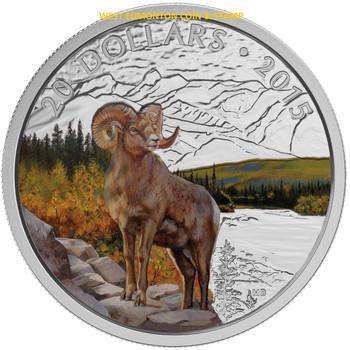 2015 $20 FINE SILVER COIN - MAJESTIC ANIMALS - BIGHORN SHEEP
