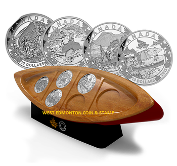 2015 $10 FINE SILVER 6-COIN SUBSCRIPTION SET - CANOE ACROSS CANADA - FREE CANOE SHAPED BOX!