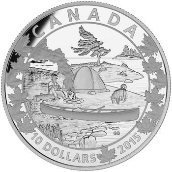 2015 $10 FINE SILVER COIN CANOE ACROSS CANADA: SERENE SCENE