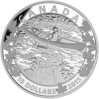 2015  $10 FINE SILVER COIN CANOE ACROSS CANADA: MIRROR MIRROR