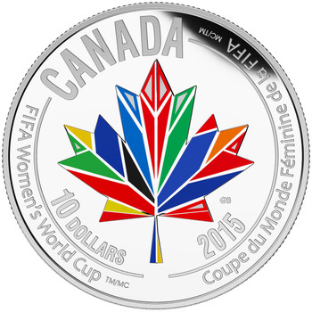 2015 $10 FINE SILVER COIN FIFA WOMEN'S WORLD CUP TM/MC: CANADA WELCOMES THE WORLD