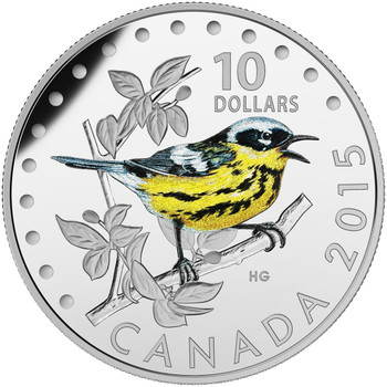 2015 $10 FINE SILVER COIN COLOURFUL SONGBIRDS OF CANADA: MAGNOLIA WARBLER