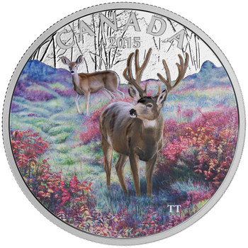 2015 $20 FINE SILVER COIN - MAJESTIC ANIMALS - MISTY MORNING MULE DEER