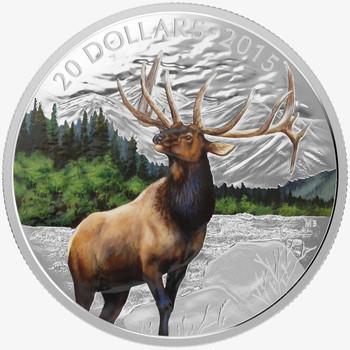 2015 $20 FINE SILVER COIN - MAJESTIC ANIMALS - ELK