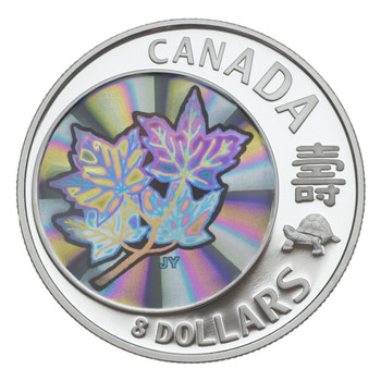 2007 $8 FINE SILVER COIN - MAPLE OF LONG LIFE