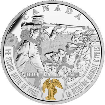 2015 $20 FINE SILVER COIN - FIRST WORLD WAR: BATTLEFRONT SERIES - THE SECOND BATTLE OF YPRES