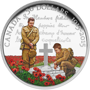 2015 $50 FINE SILVER COIN 100TH ANNIVERSARY OF IN FLANDERS FIELDS