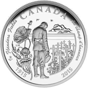 2015 $20 FINE SILVER COIN 100TH ANNIVERSARY OF IN FLANDERS FIELDS