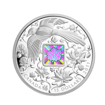 2011 $15 FINE SILVER HOLOGRAM COIN -  MAPLE OF HAPPINESS