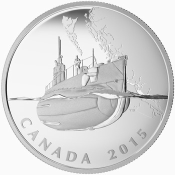 2015 $20 FINE SILVER COIN - THE CANADIAN HOME FRONT - CANADA'S FIRST SUBMARINES DURING THE FIRST WORLD WAR