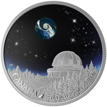 2016 $20 FINE SILVER COIN - THE UNIVERSE - BOROSILICATE GLASS - GLOW-IN-THE-DARK