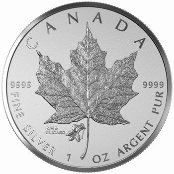 2015 $5 FINE SILVER MAPLE LEAF COIN - ANA PRIVY MARK - CHICAGO STATE FLOWER: THE VIOLET